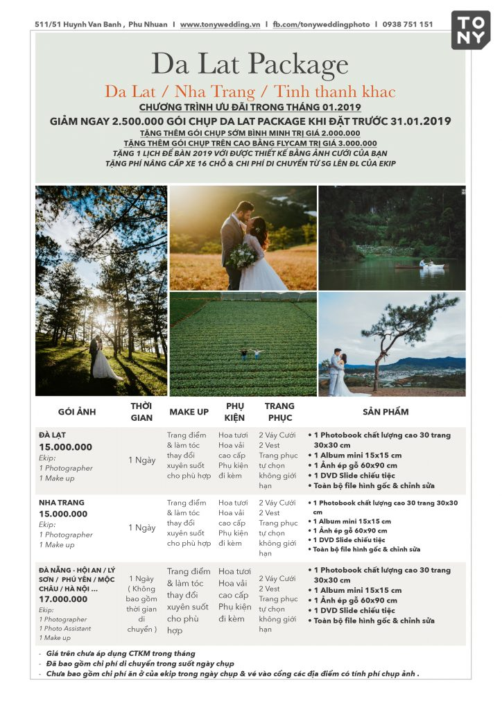 Bảng giá Đà Lạt Tony Wedding tháng 1